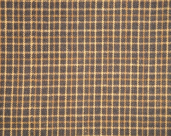 Homespun Fabric    Quilt Fabric   Cotton Fabric   Primitive Fabric   Black And Khaki Small Plaid Fabric   1 Yard