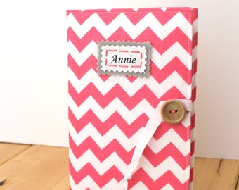 pink chevron personalized photo album brag book