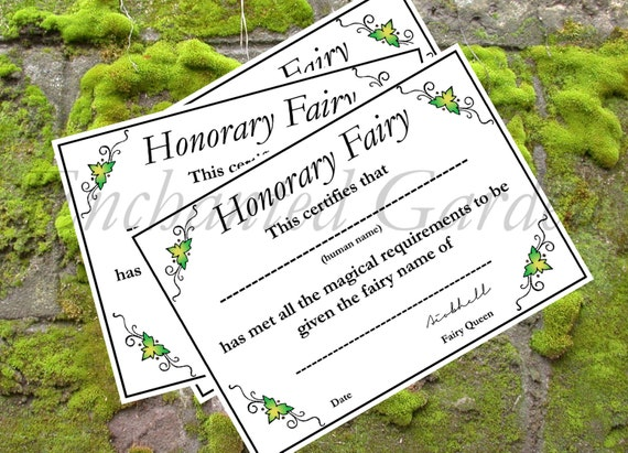 Honorary Fairy Naming Certificate Fairy Party Activity