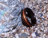 Ziricote Bentwood Ring with offset Koa Inlay (In Stock Size 6.5; 6mm wide - Custom sizes available) // Wood (5th) Anniversary Ring