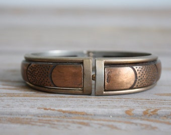 vintage. copper bralcelet cuff. dappled metal work. metal. brass colored. navajo. bohemian style.