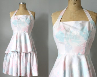 vintage. dirty dancing 1980s 80s dress. ruffle. blush pink. aqua. floral print. swing dress. halter top. xsmall