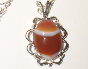 Striped Red Agate Pendant in Fancy Cast Sterling Silver Setting - Natural Cabochon Gemstone