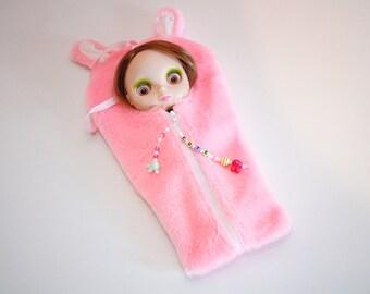 "The Original Blythe Sleepsack from PINKKIS: ""CUTE"" Pink Bunny Carrier for Blythe Dolls"
