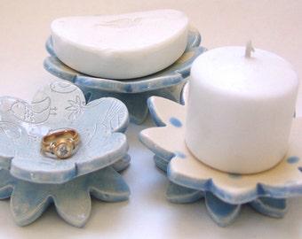 powder Blue Birds & polka-dot pottery Dish Set :) 3 ceramic serving flowers, whimsical hostess gift, candleholders, ring dish