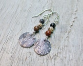 Bead Dangle Earrings with Feather Print Charm Sterling Silver Fine Silver Metal Clay Jasper Stone Earrings