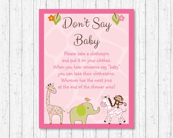 Cute Pink Jungle Animal Don't Say Baby Game / Jungle Animal Baby Shower / Safari Baby Shower / Clothespin Game / Printable INSTANT DOWNLOAD