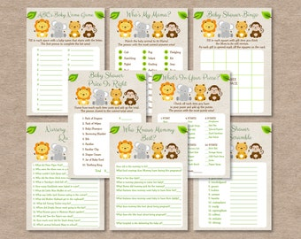 Safari Jungle Animal Baby Shower Games Package / Safari Baby Shower / Jungle Animal Baby Shower / 8 Printable Games / INSTANT DOWNLOAD A100