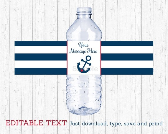 Nautical Anchor Water Bottle Wraps Water Bottle Labels
