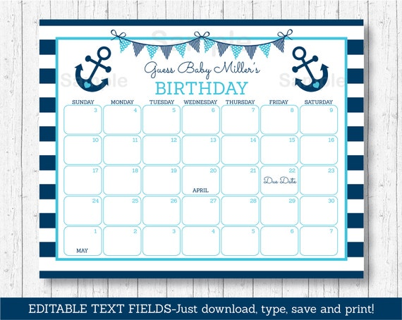 birthday predictions calendar nautical baby shower baby shower