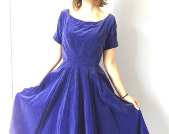 Vintage Suzy Perette Dress - New Look 1950s New Look Purple Velvet - Small - Size 0-2