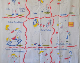 Vintage Fabric Print and Embroidery Childs Quilt Topper • Unused Embroidery Fabric • Nursery Rhyme Theme