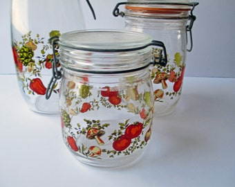 Vintage French Spice of Life Glass Canister Jar Trio - Retro