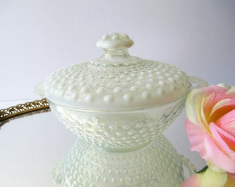 Anchor Hocking Moonstone Opalescent Hobnail Covered Bowl - Vintage Chic