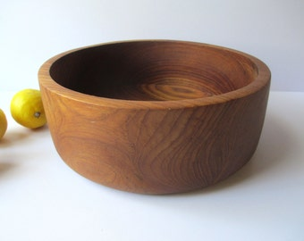 Vintage Wooden Round Serving Bowl - Rustic