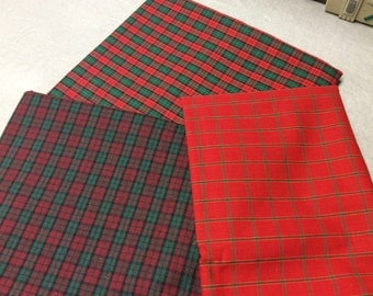 3 Red and Green Woven Plaids - 5+ Yards