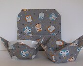 Microwave Gift Set, 2 Fabric Bowls and a Baked Potato Bag, Owls on Gray, Food Warming Bowls, Ice Cream Bowls, Gift Set
