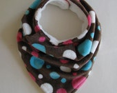 Bandana Bib, Drool Bib, Polka Dots, Brown, Hot Pink, Turquoise, White, Baby Bib, Micro Fleece