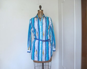 vintage GOTTEX long cotton blouse / beach coverup - brushstroke stripes: aqua, teal, indigo, periwinkle, white, black + gold - size small