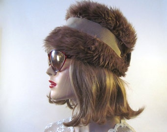vintage 1960s faux fur cloche with brown grosgrain ribbon - Autumn, Fall, Winter Party Hat