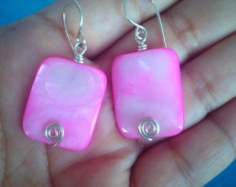 Iridescent Pink Shell with Swirl Earrings  Handmade Jewelry Spring Earrings