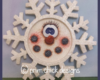 hand painted snowflake winter wall decor sculpted prim chick lisa robinson teamhaha ofg