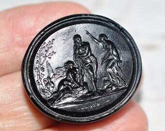 antique classical grand tour scene glass block intaglio wax seal - Hercules - Wifdom - Pleafure - Georgian Tassie glass intaglio cameo seal