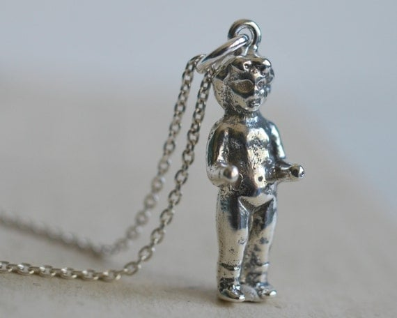 doll necklace - Frozen Charlotte miniature doll pendant in sterling silver - antique doll jewelry