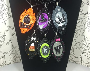 Assorted Cute Spooky Halloween Cameo Frame Necklaces