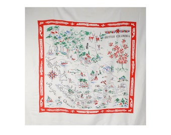 Vintage 50s Tablecloth - British Columbia - 50s Souvenir Table Cloth - 50s Map Tablecloth - 50s British Columbia - 50s Novelty Print