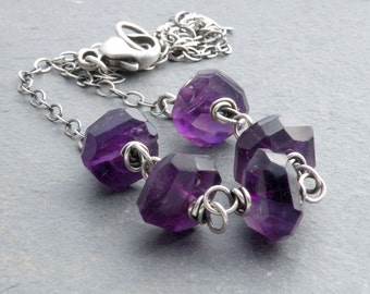Chunky Amethyst Gemstone Necklace, Wire Wrapped, Oxidized Sterling Silver, February Birthstone, #4591