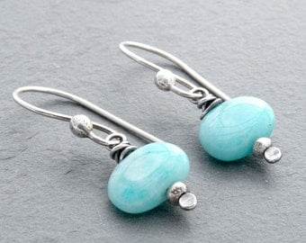 Amazonite Gemstone Dangle Earrings with Sterling Silver Wire Wraps and Handcrafted Ear Wires,  #4714