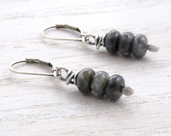 Gray and Black Gemstone Earrings, Larvikite, Norwegian Moonstone, Stacked Discs, Simple, Minimalist, Sterling Silver, Lever Back, #4377