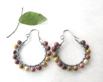 jasper and silver hoop earrings, boho stone and silver earrings, oxidized earrings, multi color stone earrings, rustic jasper earrings