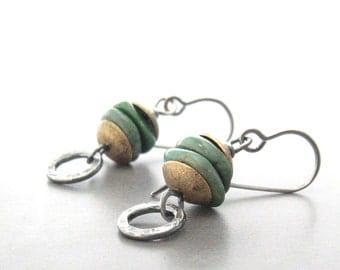 turquoise dangle earrings, mixed metal earrings, boho turquoise earrings, oxidized silver and stone earrings, metalwork earrings