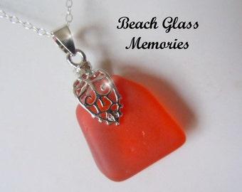 Red - Orange Sea Glass Necklace Seaglass Pendant Beach Jewelry Beachglass Necklace
