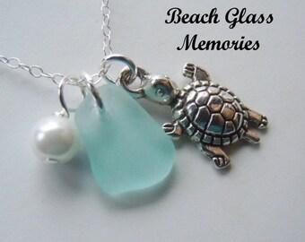 Beach Glass Jewelry Turtle Necklace  Seaglass - Beach Pendant Sea Glass  Pendant Necklace