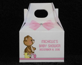 Baby Shower Favor Boxes - Baby Girl Favor Boxes - Personalized Gift Boxes  - Gable Box - Bear With Toys - Favor Box - Set of 20
