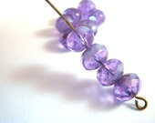 10 Czech Picasso Lavender Blue Faceted Glass Abacus Rondelle Beads 8x6mm - 10 pc - G6041-LP10