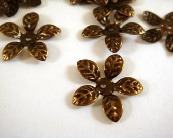 50 Bronze Flower Bead Cap Antique Bronze NF 15mm - 50 pc - F4026BC-AB50