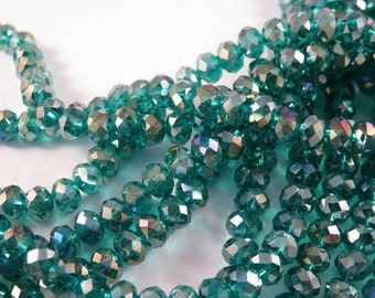 50 Teal Lustre AB Glass Bead Rondelles Faceted Dark Green Abacus 6x4mm - 50 pc - G6026-TLAB50