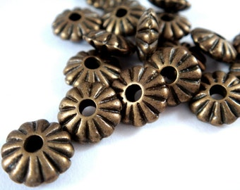 25 Antique Bronze Saucer Beads Ribbed Corrugated Flower LF/NF/CF Tibetan Silver 9x4mm - 25 pc - M7029-AB25
