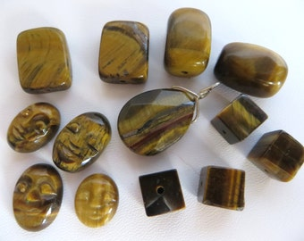 Tiger Eye Chips With 13 Misc Beads, Bead Destash