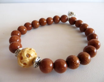Goldstone Energy Bracelet With Bone Bead & Sterling Crown