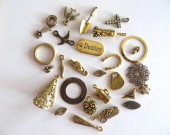 Brass Charm lot, 27 Piece Charm destash