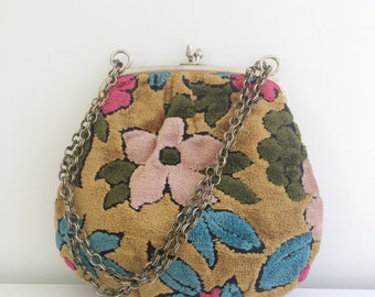 Vintage 1970's Carpet bag Velour Floral purse with chain strap