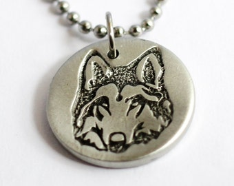 Wolf Necklace, Wolf Charm, Wolf Pendant, Wolf Jewelry, Repurposed Pewter Button Jewelry by Hendywood