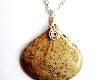 Polished Natural Stone Necklace Pendant, Wire Wrapped Necklace Pendant, Picture Jasper Stone, Natural Stone Jewelry by Hendywood
