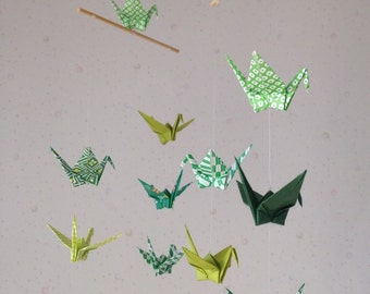 "14 Small Origami Cranes Mobile - Green Shades, folded from 3"" Washi Chiyogami and Washi Solid, Home Decor, Nursery Mobile, Handmade, Peace"