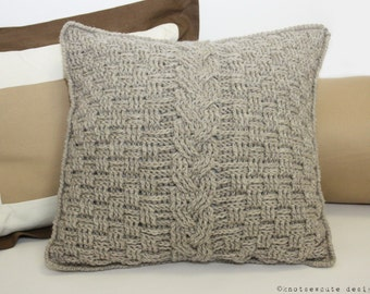 CROCHET PATTERN - Aran Accent Pillow - Instant Download (PDF)